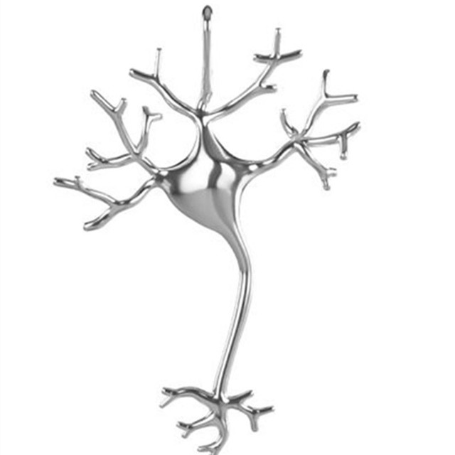 Neuron necklace polished Silver Plated 3D printed neuron pendant ...