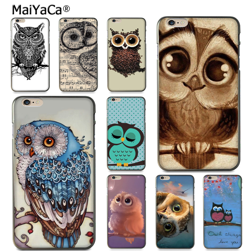 MaiYaCa cute owl animal bird DIY Painted Beautiful Phone Accessories Case for