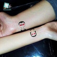 Rocooart fashion Body Art WaterProof Temporary Tattoo Stickers Cartoon Couples head tattoo Flash Taty tatouage