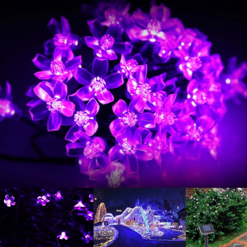 Red Solar Party Decorations Flower  String Lights  Water Proof (Includes 30 LED Lights) (7)
