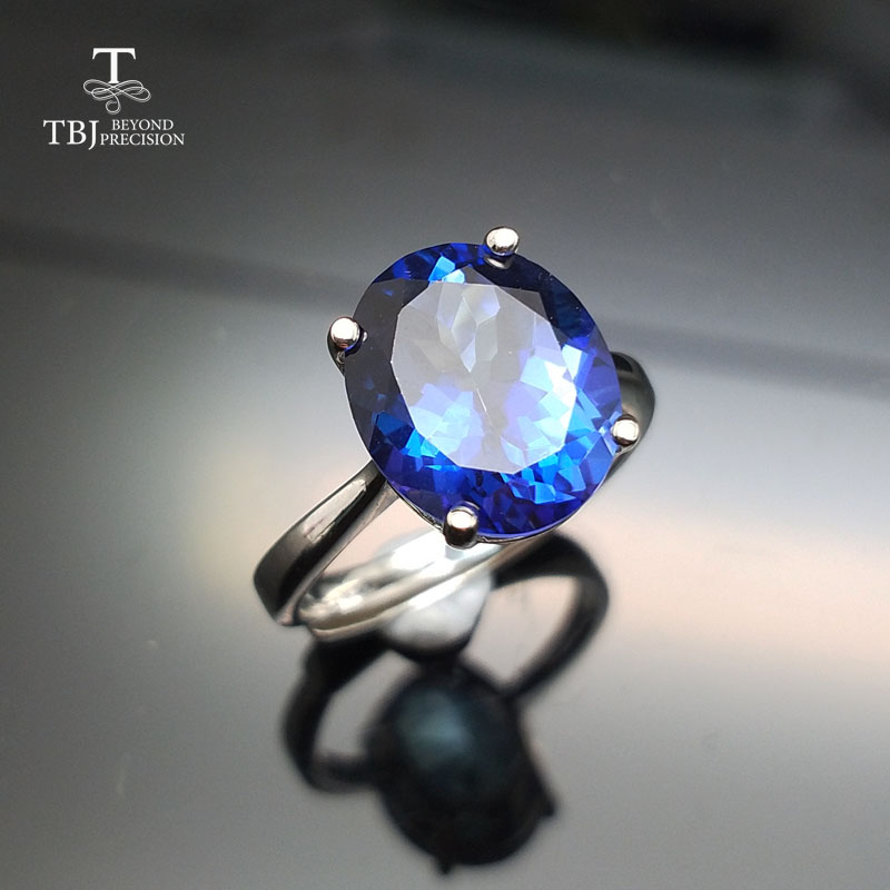TBJ,big size 5.5ct coated blue topaz women ring in 925 silver gemstone jewelry simple and elegant gemstone ring for girl as gift simple diamante black faux gemstone embellished alloy ring for women