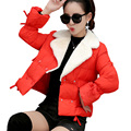 Novas mulheres jaqueta Moda inverno Coreano Gola De Pele bonito Curto de Algodão para baixo casacos jaqueta plus size parkas para mulheres inverno