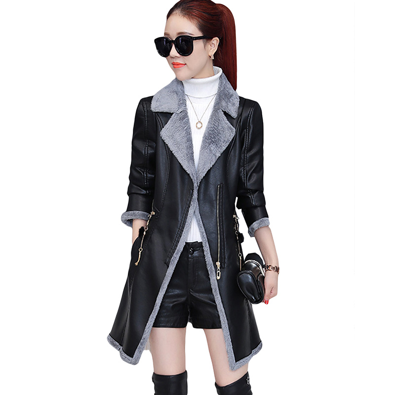 2017 New Washed   Leather   Women Long Fur One Coat Lamb Plus Female Fashion Slim Pu Warm Jacket Winter thick coat Keep warm 3XL