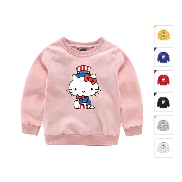 2017 girl & meninos Camisola de Algodão Crianças Hoodies Primavera e Outono Roupas Infantis Menino Qualidade Kitty Roupa Dos Miúdos Moleton Menino