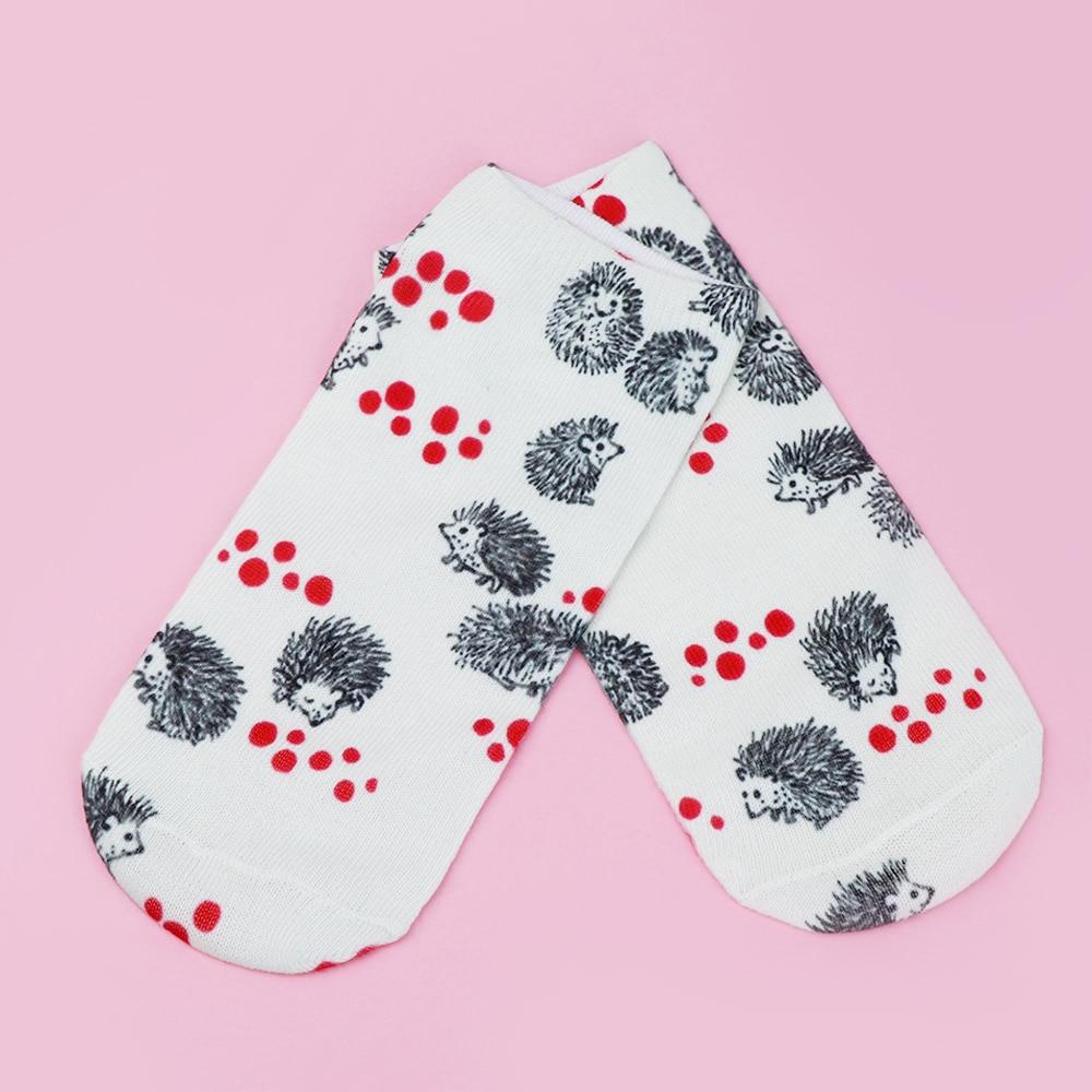 Sweet Cartoon Animal Hedgehog Pattern Casual Short Socks Women Lovely Soft Breathable Polyester Sock
