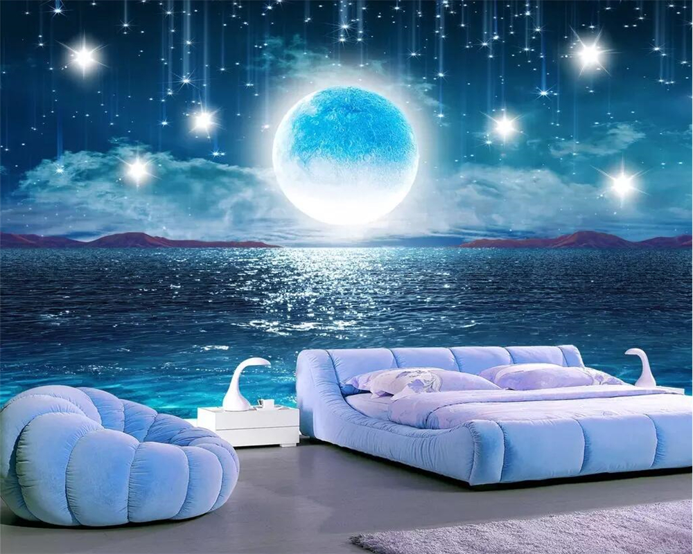Beibehang Water Moonlight Beautiful Night Starry Sky TV