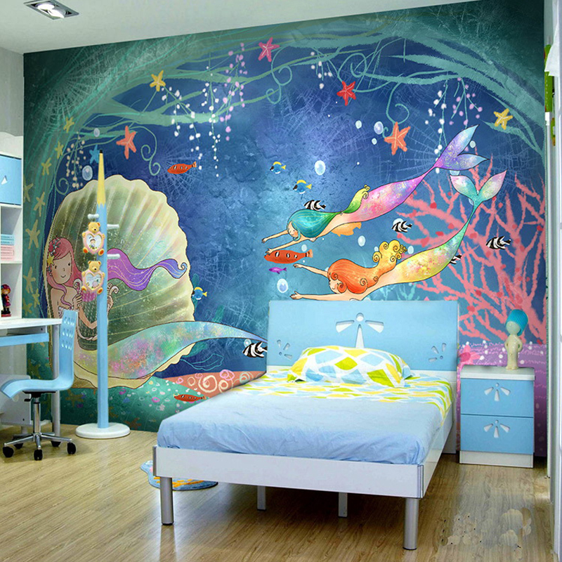Custom 3d mural wall paper children 39 s room cartoon animal for Bedroom mural painting