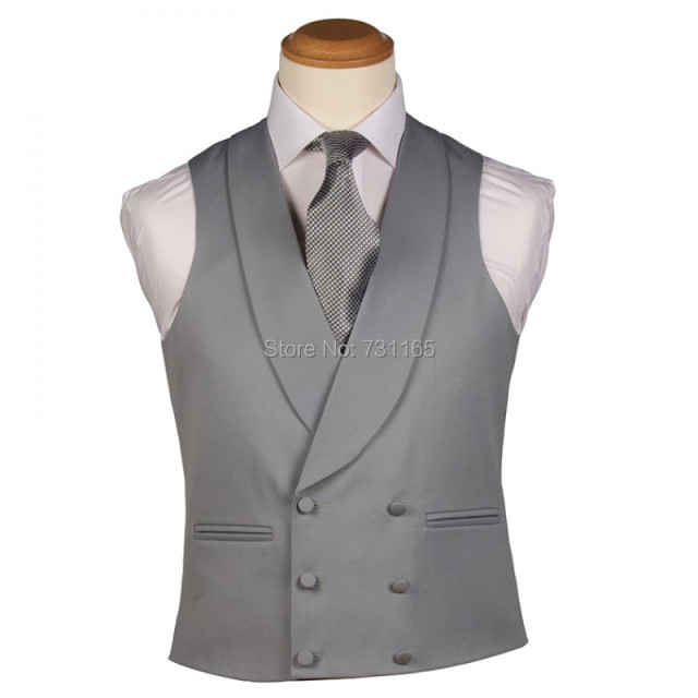 Silver Grey Waistcoat Men for Wedding Groom New Fashion 3 Buttons Slim Fit  Wedding Men Suit Vest