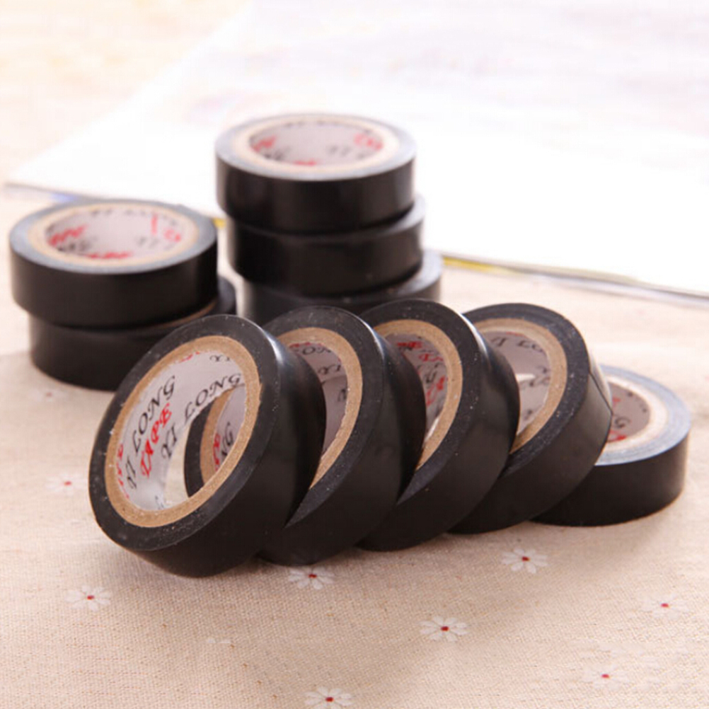 Flame Retardant Waterproof Insulating Tape 10M X 15mm PVC Black Adhesive Vinyl Electrical Insulation Tape