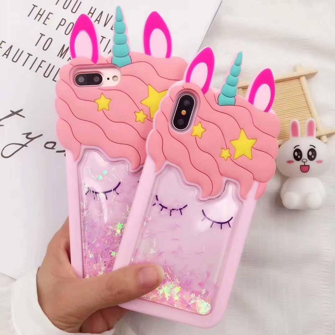 3D unicorn soft silicone case for iPhone 7 8 plus cute cartoon ...