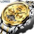 Loreo luxo relógios men automatic self-vento moda casual masculino esportes relógio mecânico relógios de pulso relogio masculino j90