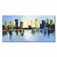 hand painted modern abstract city landscape oil painting home decoration gift canvas art