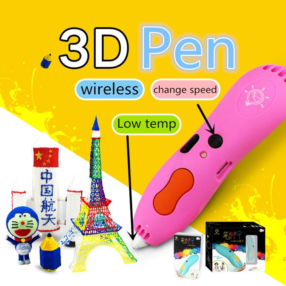 Low temp wireless 3D PEN pattern Doodler start 3D printer pen Children students festival Birthday gift Creative toys PCL Refills temp