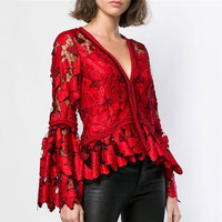 2018 Winter Women Fahsion Red Blouse Shirt Sexy V neck Hollow Out Flare Sleeve Women Shirt High Quality Women Tops Lace Blouse