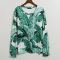 2016 Fashion Brand Sweatshirts Hoodies Women Green Leaves Print Tracksuit Long Tops Women Sweatshirt Hoody Women Free Shipping