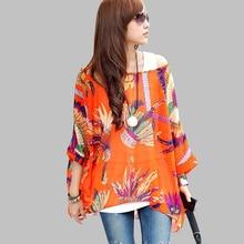 Women's Chiffon Shirt Boho Style Batwing Casual Blouses (30 colors)