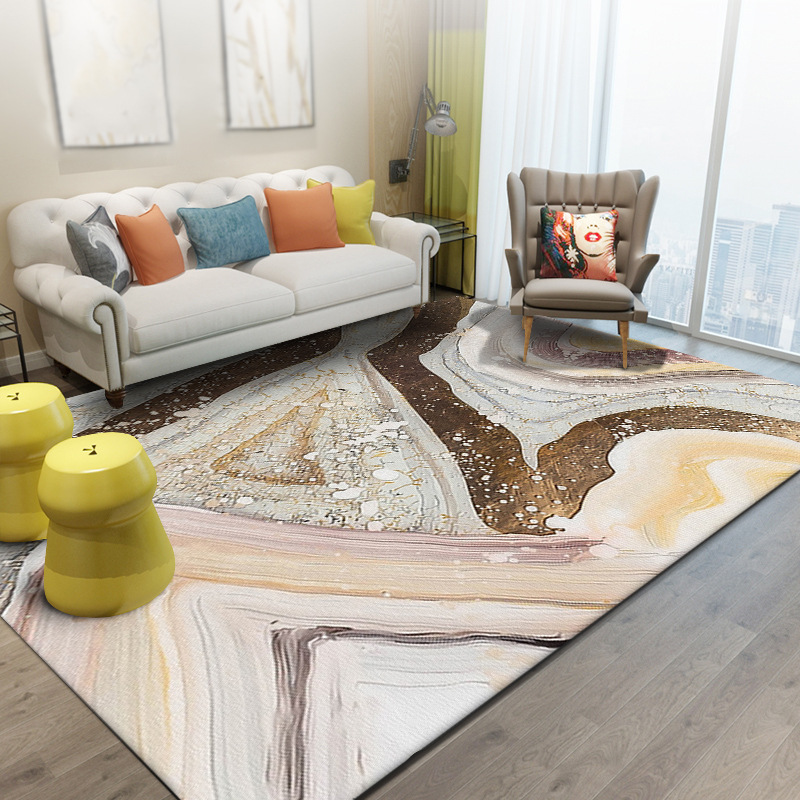 Gold Living Room Carpet: Fashion Nordic Style Gold Abstract Lines Carpet Stone
