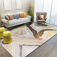Fashion Nordic style Gold Abstract lines carpet Stone pattern Bedroom living room crystal velvet mat plush big size non-slip rug