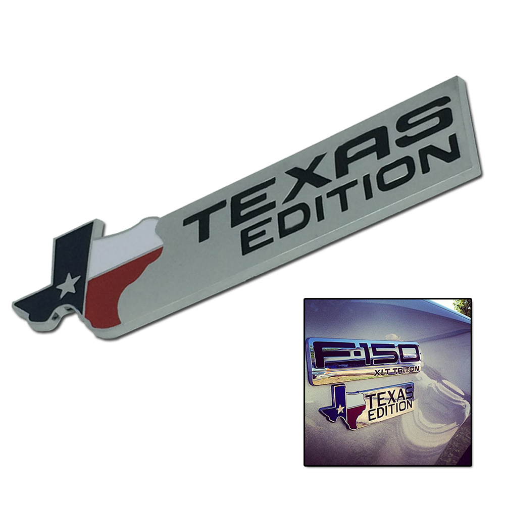 1pc Chrome Silver/Black XL TEXAS EDITION Car Stickers Emblem Badge For Ford 150 250 350 Tailgate Car-Styling Exterior Decoration auto chrome camaro letters for 1968 1969 camaro emblem badge sticker