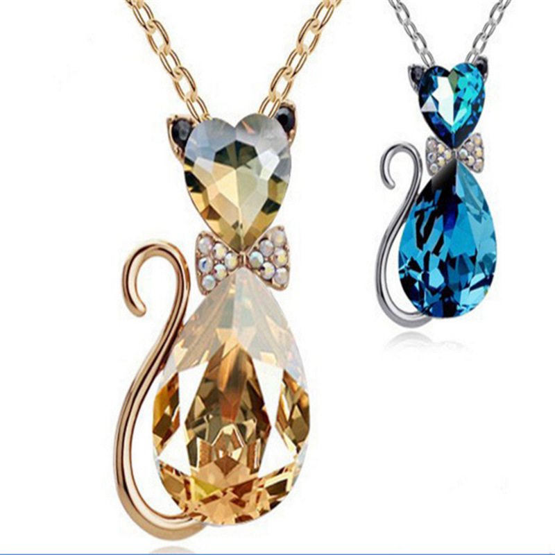 Tassina Animal Pet Cat Pendant Crystal Rose Gold Color Summer Chokers Necklace For Women Wholesales Fashion Jewelry neckless
