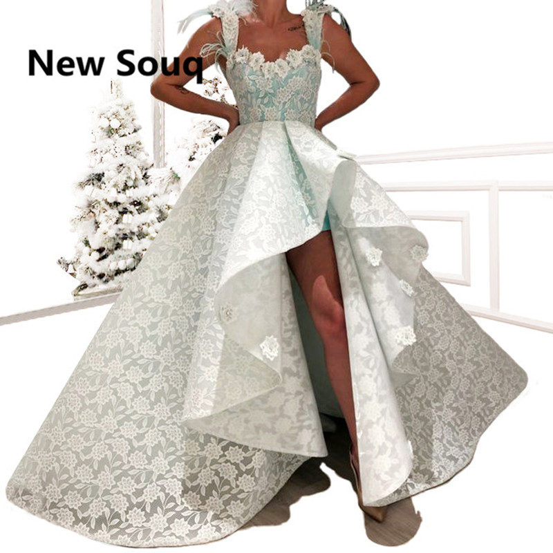 Elegant Full Lace A-Line High Low Prom Dresses With Feather Vestidos De Gala Sweep Train Long Prom Dress Evening Gowns