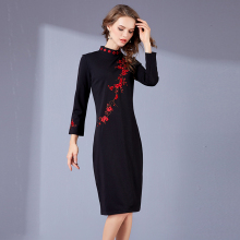 2017 autumn new women black embroidery dress temperament elegant long sleeves Slim Vintage dress office party bodycon dresses