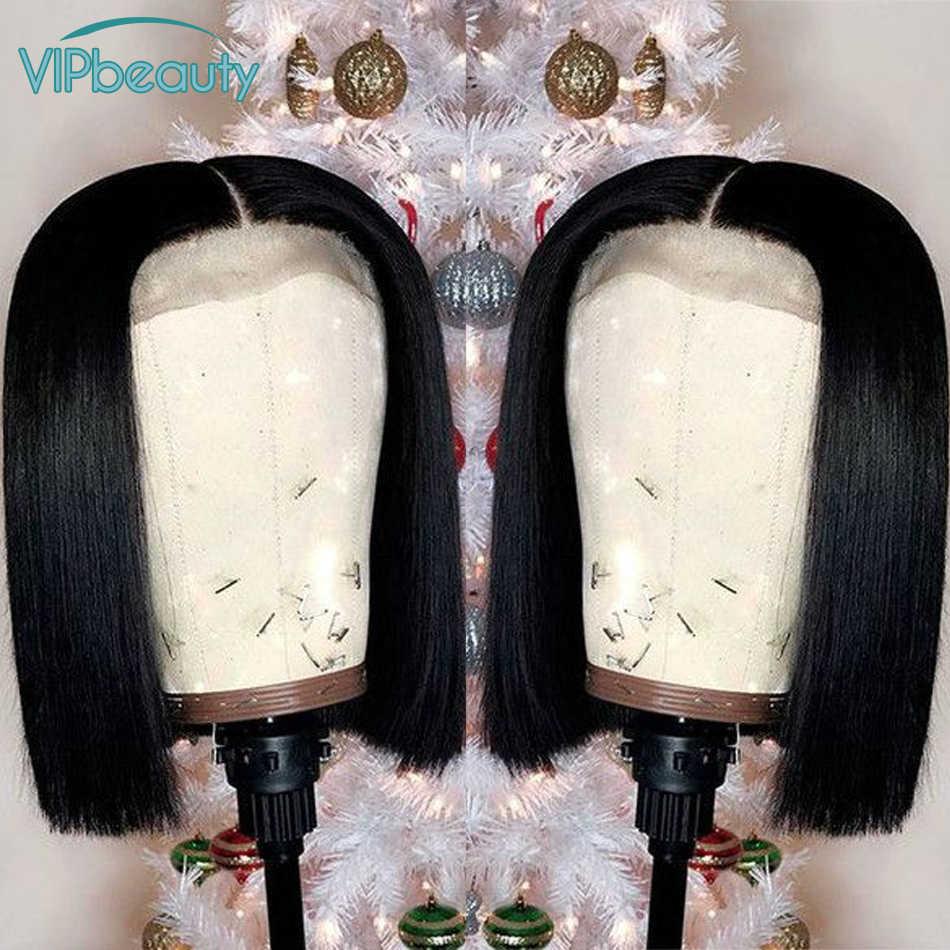 """Vipbeauty прямые волосы короткий парик-Боб для женщин перуанские Remy человеческие волосы кружева передние парики предварительно Сорванные 8 """"-12"""" Бесплатная доставка"""
