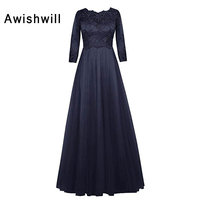 Custom Made Elegant Mother of The Bride Dresses With Sleeves Lace Tulle A Line Modest Formal Dress Mother of Groom Dress