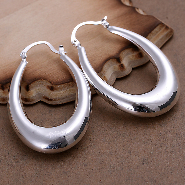e524b51077bf8 US $2.62 20% OFF|E115 925 sterling silver smooth big letter U Hoop fine  earring for women fashion jewerly promotion-in Hoop Earrings from Jewelry &  ...