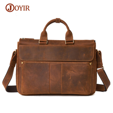 JOYIR New Genuine Leather Men Messenger Shoulder Bags Large Capacity Male Handbags Briefcases 15″ Laptop Crossbody Bags Men Gift