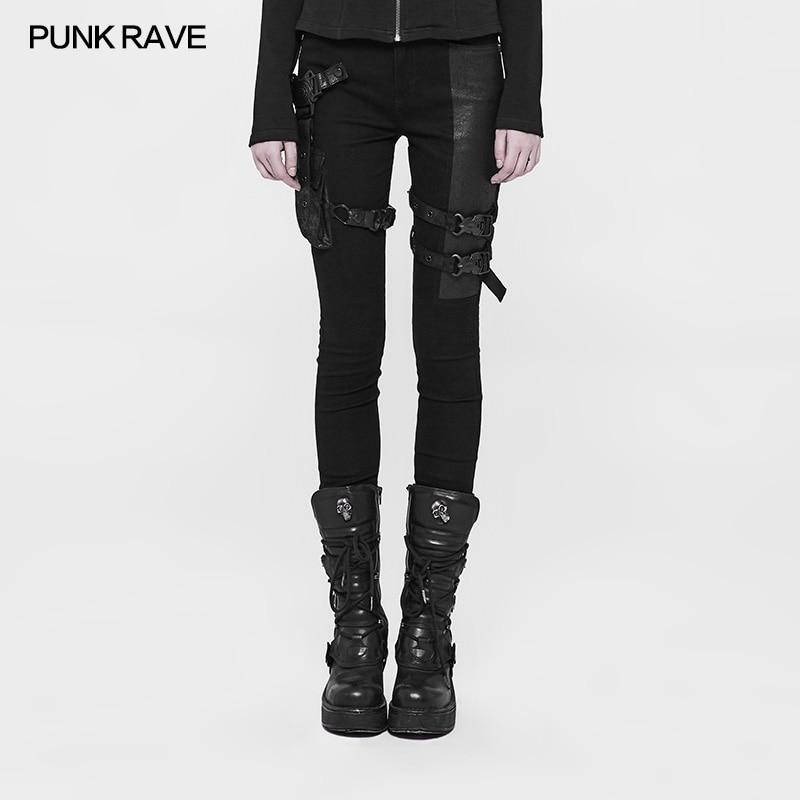 Punk Rave Rock futuriste mode fête décontracté serré Slim-ajustement pantalon femmes pantalon visuel Kei WK327