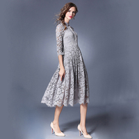 Lace Shirt Dresses Grey Hollow Out Lace Half Sleeve Turn Down Collar Mid Calf Dresses For