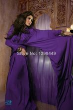 Purple fancy long sleeves arabic kaftans long evening dress puffy crystal muslim abayas in dubai islamic clothing for women