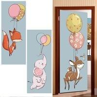 2pcs/set Colorful Balloons Nordic Children Room Decoration 3D Door Stickers Door Poster Removable Mural Poster Door Wallpaper