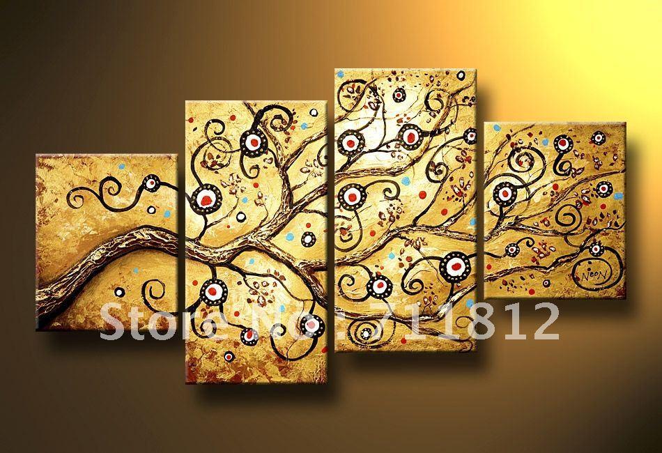 Handicraft Abstract Modern Art Wall Decor Oil Painting On Canvas(4 ...