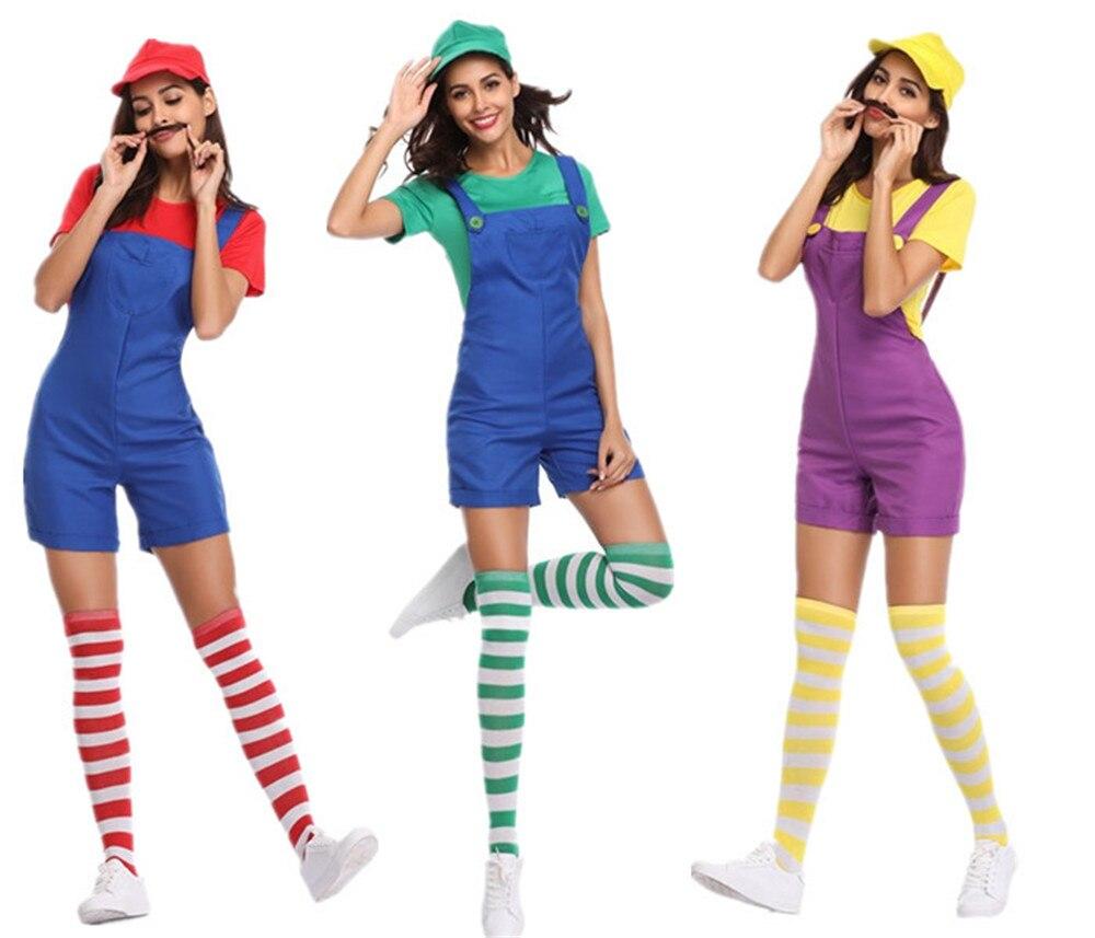 Cosplay super Mario women's uniform strap dress / socks / hat plumber clothing sexy women dress Halloween carnival costume