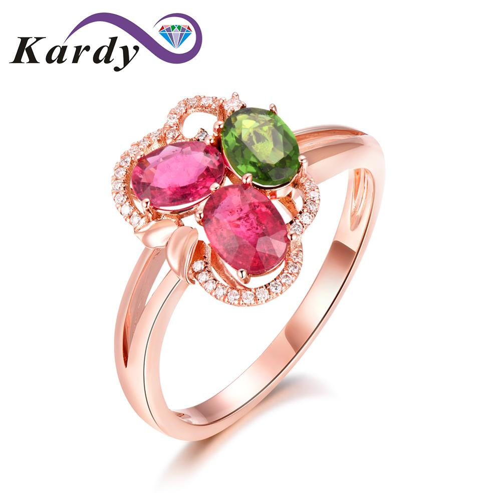 Incroyable Design pierre précieuse Tourmaline naturelle véritable diamant 14 K or Rose bague de fiançailles de mariage ensemble