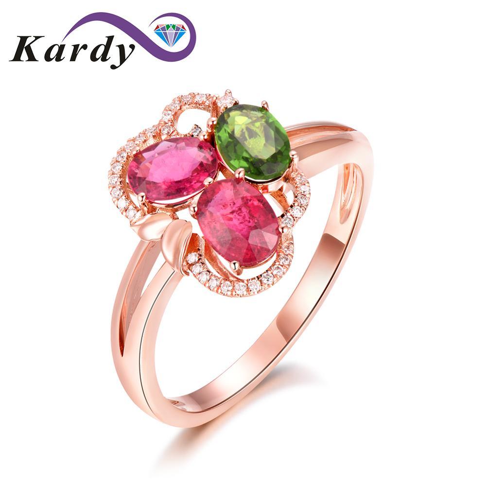 Tolles Design Edelstein Natürlichen Turmalin Real Diamond 14 Karat Roségold Hochzeit Engagement Band Ring Set