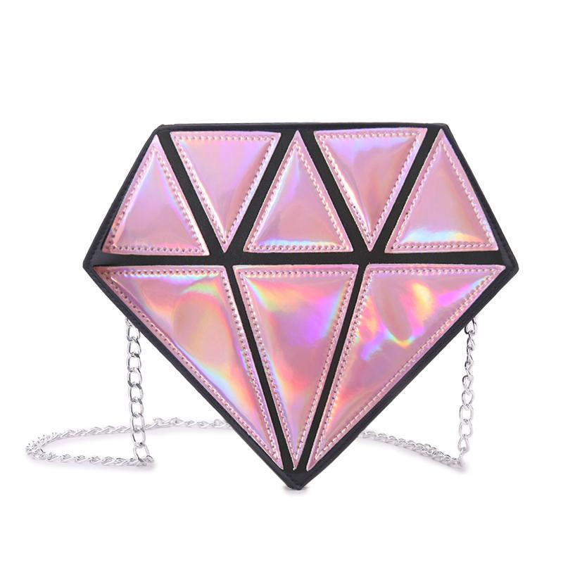 Prix pour 3D Designer Géométrique Laser Hologramme sac à main Dames En Cuir Diamant Sac Pour Partie Femmes D'embrayage Sacs 3 couleur