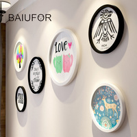 BAIUFOR Round Photo Frame DIY Wooden Family Picture Frames With Poster Hanging Wall Living Room Home
