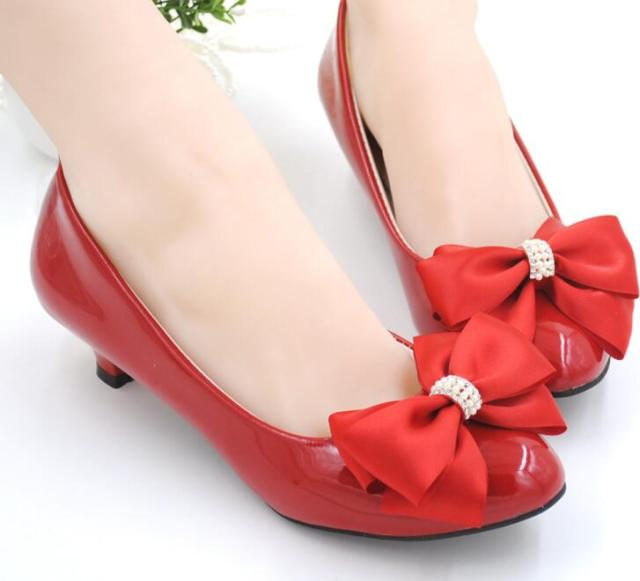MIDDLE heel red color bow butterfly