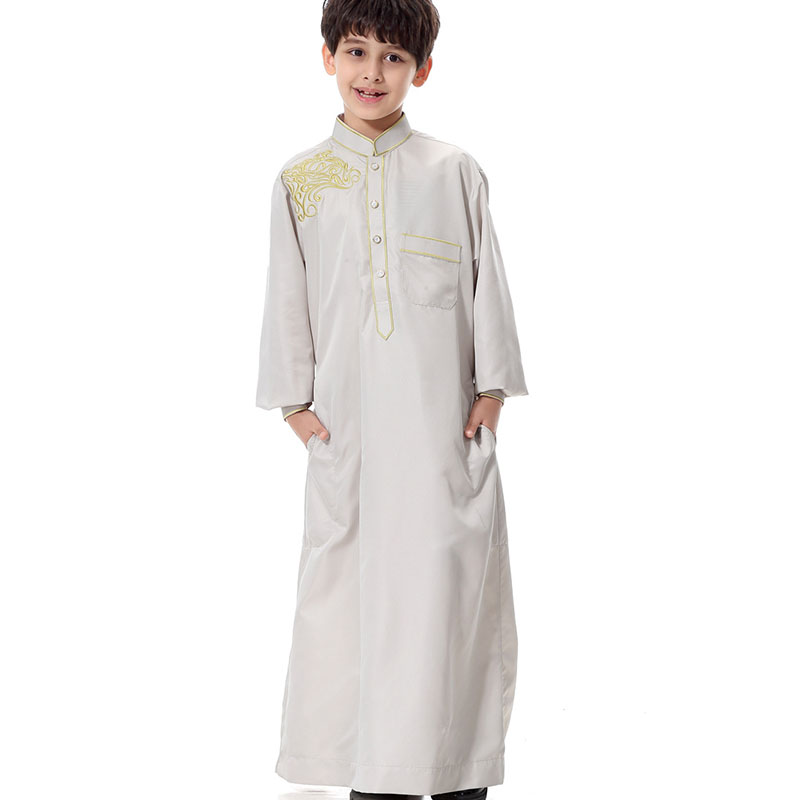 2017 New Boy Gift Islamic Thobe Arabic Clothing for Men Jubba Robe Male Ropa Islamica Hombre Children Muslim Men Clothing M-3XL