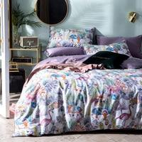 60S High Quality long staple cotton Neo Boho Bed Cover Queen Tropical Green plants Flamingo Print Boho Duver Sheet Queen Size