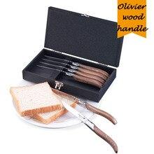 Стейк нож из нержавеющей стали 8,7 дюйма, 6 шт., Оливье, стиль Laguiole, столовые приборы в деревянной коробке, вилка для стейка
