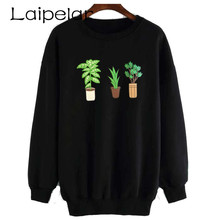 2018 Fashion Coloured Pot Print Sweatshirts O Neck Sweatshirt Long Sleeve Women Laipelar