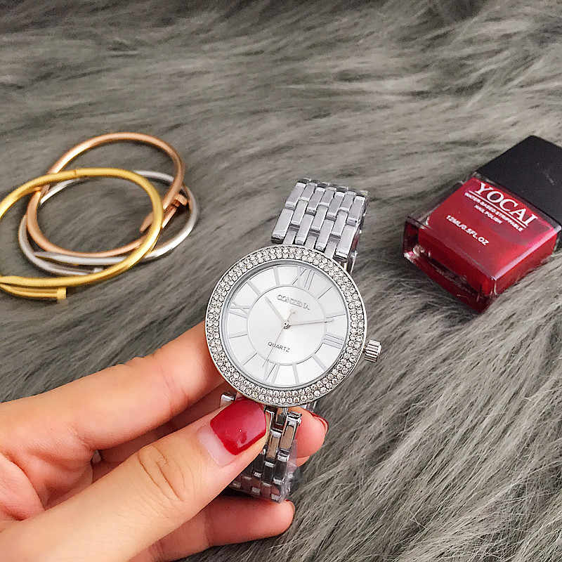 CONTENA Fashion Silver Women Watches Stainless Steel Women's Watches Luxury Rhinestone Ladies Watch Women Clock relogio feminino