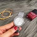 Mulheres relógio contena top prata marca relógios das mulheres strass relógios de luxo senhoras relógio relógio montre femme relogio feminino