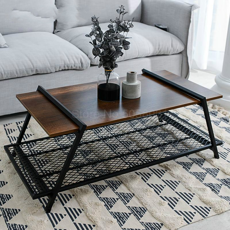 retro coffee table nordic minimalist creative living room net red wrought iron wood square japanese small coffee table