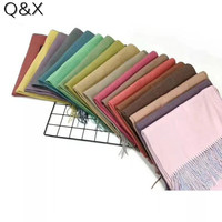 SC43 Women Double Side Warm Scarf Solid Two Color Winter Pashmina Female Stole Long Thick Fashion