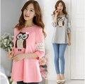 2016 nova Moda plus size roupas de algodão T-Shirt para as mulheres coruja bonito impresso lace bordados casual t-shirt mulher top rosa, cinza